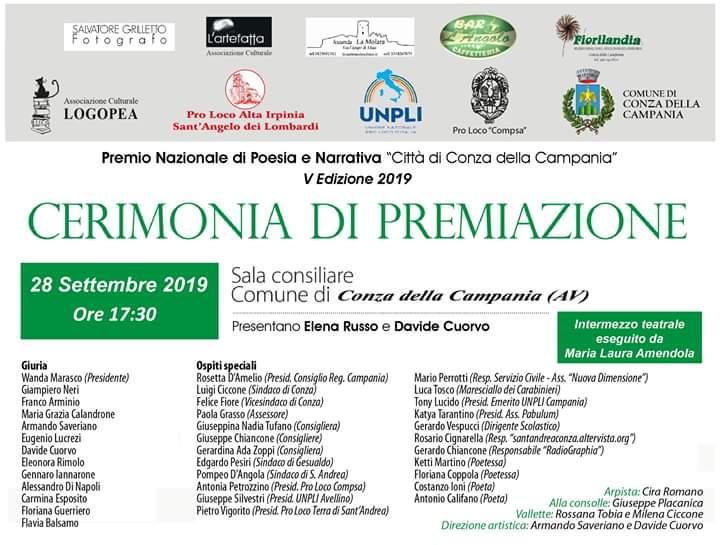 """V Edizione del Premio Nazionale Poesia e Narrativa """" Città di Conza della Campania"""" (AV)- 28 settembre 2019"""