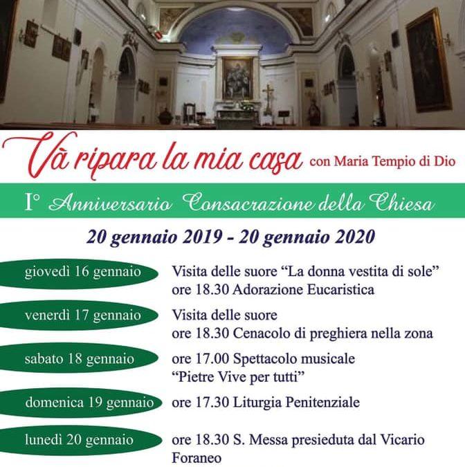 """1°Anniversario """"Consacrazione della Chiesa"""" dal 20 gennaio 2019 al 20 gennaio 2020 a Montaperto (AV)"""