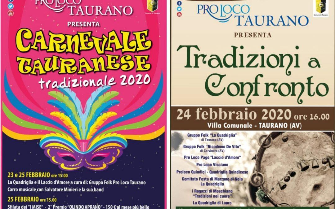 """""""Il Carnevale Tauranese"""" nei giorni 23-24-25 febbraio 2020 a Taurano (AV)"""